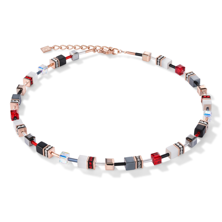 GeoCUBE® Necklace rose gold, white & red