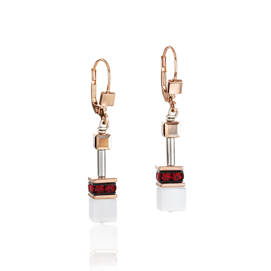 GeoCUBE® Earrings rose gold, white & red