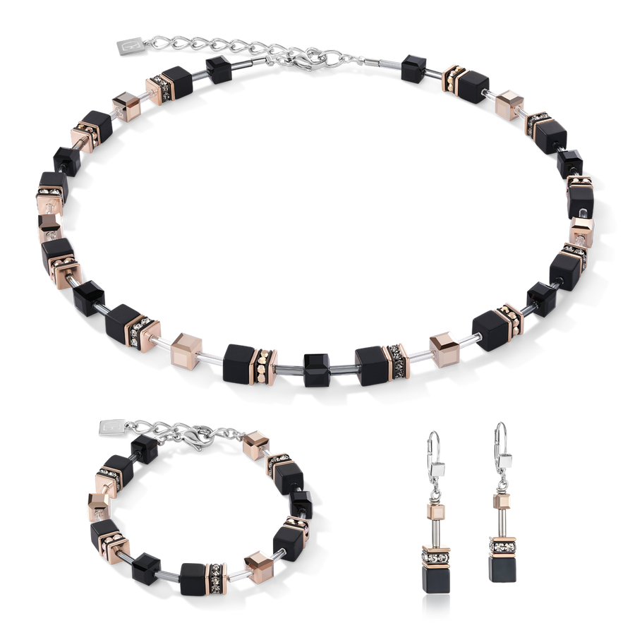 GeoCUBE® Bracelet onyx black-rose gold