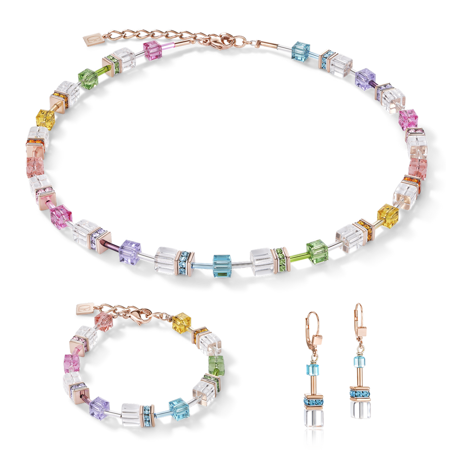Collana GeoCUBE® multicolor-cristallo