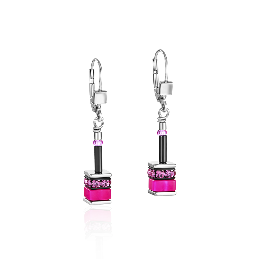 GeoCUBE® Earrings classic polaris & rhinestone multicolour