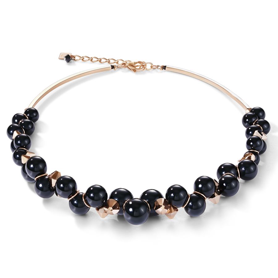 Necklace acrylic glass black & Swarovski® Crystals rose gold