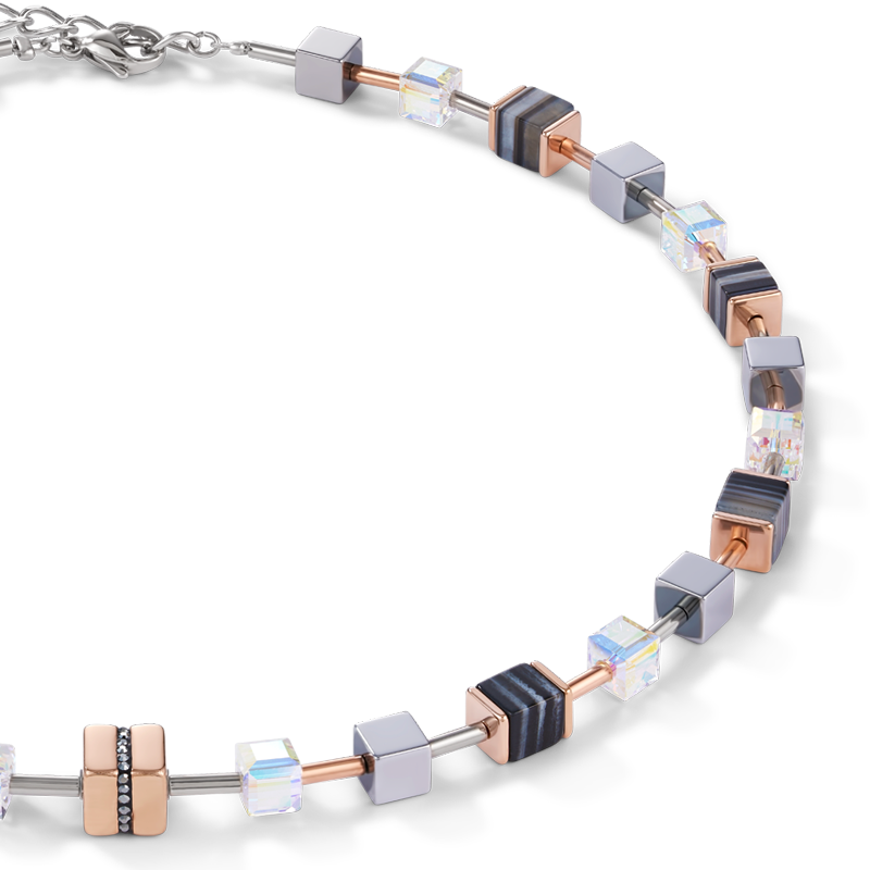 Necklace GeoCUBE® Stainless steel & crystals pavé, Swarovski® Crystals & banded onyx rose gold-black