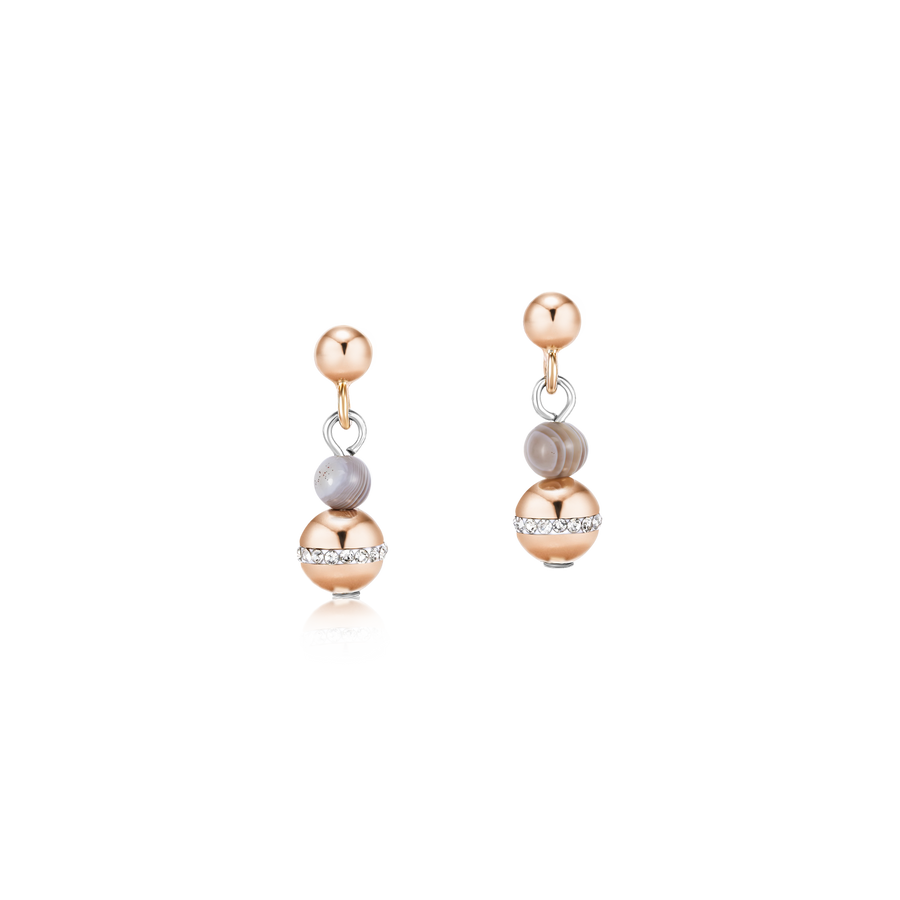 Earrings Ball Botswana agate & stainless steel rose gold beige-grey