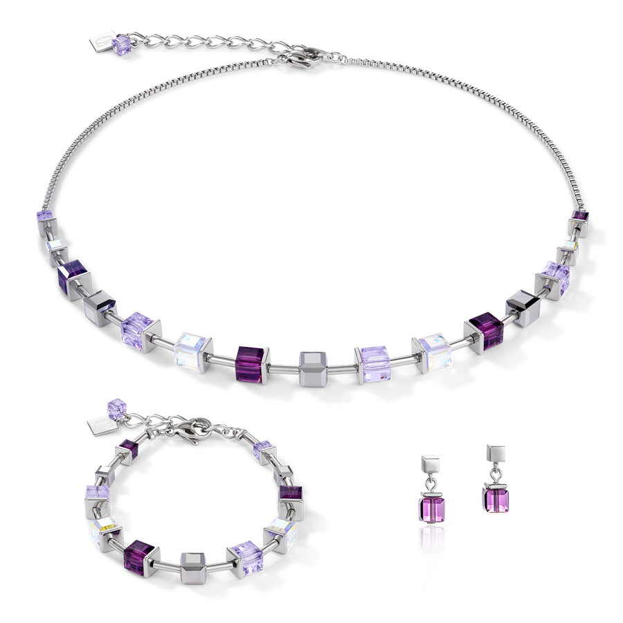 Necklace GeoCUBE® Swarovski® Crystals & stainless steel amethyst