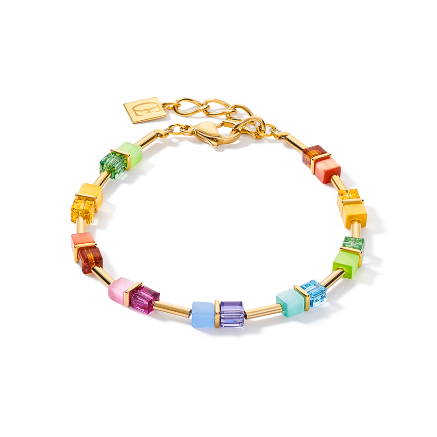 Braccialetto GeoCUBE® colour couple multicolor rainbow-oro