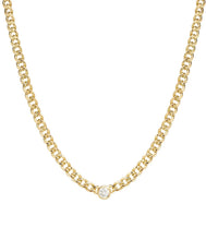 Load image into Gallery viewer, 14k Gold Medium Hollow Curb Chain Necklace With Diamond
