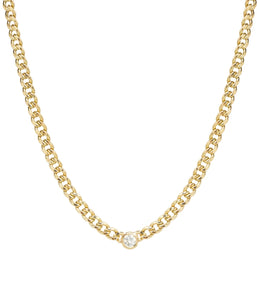 14k Gold Medium Hollow Curb Chain Necklace With Diamond