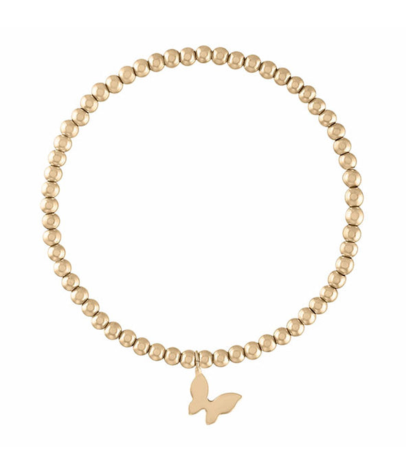 Butterfly Gold Ball Bracelet