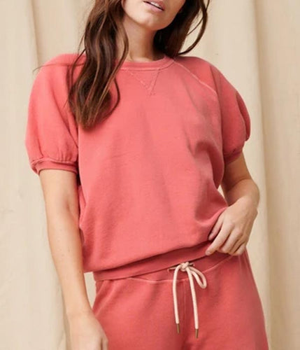 The Short Sleeve Puff Sweatshirt In Coral