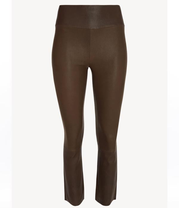 High Waisted Leather Crop Flare Legging In Dark Chocolate
