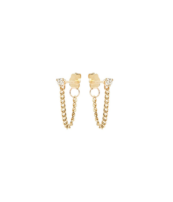 14K Prong Diamond Extra Small Chain Stud Earrings