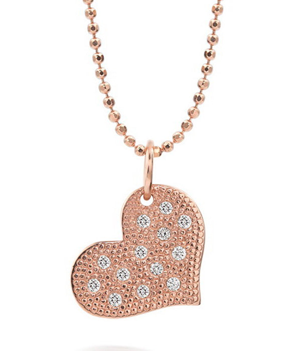 Lava RG paved heart charm - Rose Gold and Diamonds