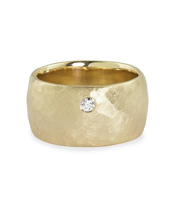 RAMA Yellow Gold wide hammered ring - 6 ring size
