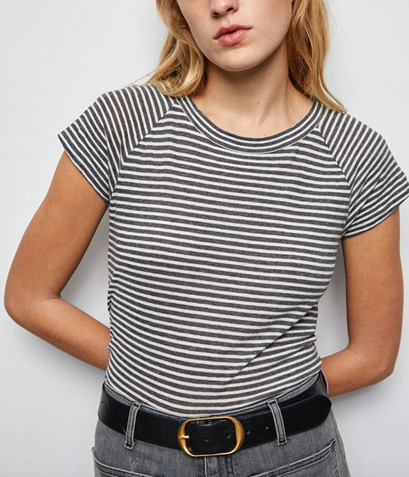 Short Sleeve Baseball Tee - Charcoal/ White Stripe