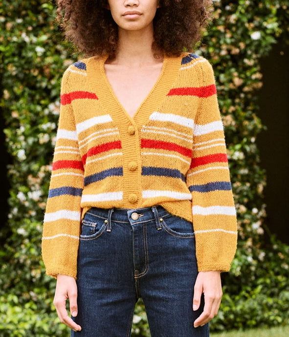 The Sailing Cardigan - Golden Yellow Stripe