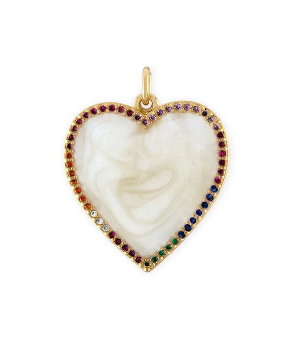 Rainbow Heart Pendant on 18