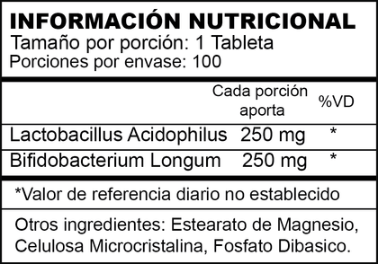 ACIDOPHILUS PLUS | PROBIOTICOS | 100 TABLETAS | AMERICANO | XTRALIFE