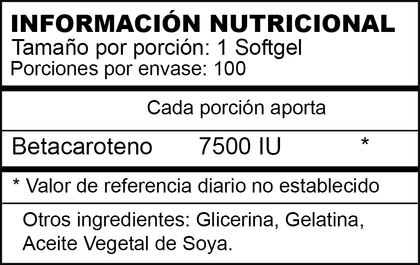 BETA CAROTENE | 7.500 UI  | 100 SOFTGELS | AMERICANO | XTRALIFE