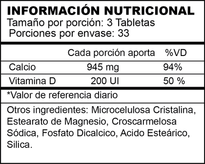 CALCIO CITRATE + D | 945 Mg  | 100  TABLETAS | AMERICANO | XTRALIFE