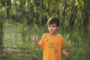 Bees Please Vegan kids Tshirt Ethically made soft and cute.
