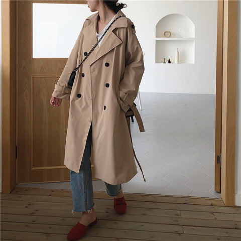 Vintage Loose Long Trench Female Casual Khaki Red Trench Coat