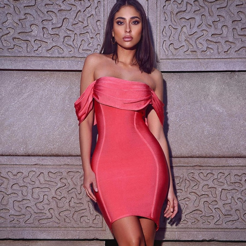 Bodycon Bandage New Arrival Pink Off Shoulder Bandage Dress
