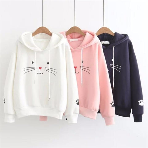 Streetwear Cat Print Clothes Stylish casual hoodie