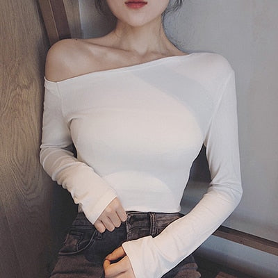 Off The Shoulder Tops Long Sleeve Sexy Fashion T-Shirts