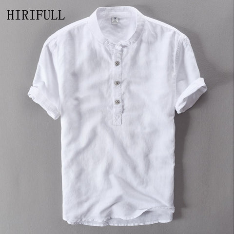 Linen Male White Color Casual Plus Size Short Sleeve Shirts