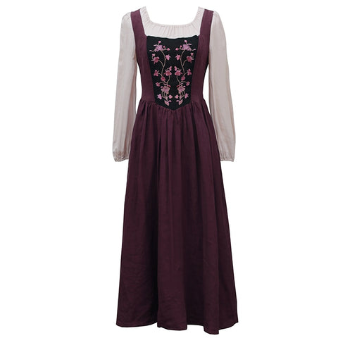 Long Sleeve Embroidery Cotton And Linen Patchwork Slim Elegant Retro Midi Dress