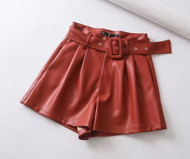 Black Orange Color PU Leather High Waist with Belt Wide Leg Shorts