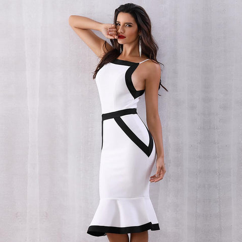 Celebrity Party Bandage White Spaghetti Strap Sexy Night Out Club Dress