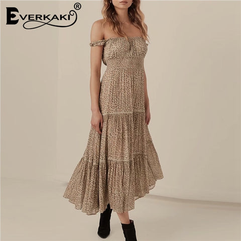 Leopard Print Off The Shoulder Long Femme Loose Bohemian Dress