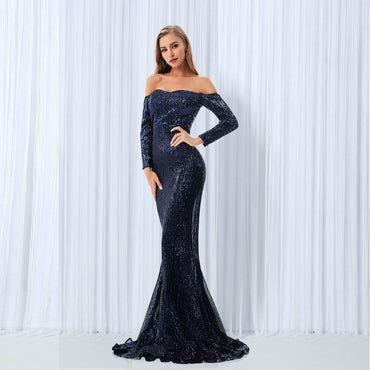 Sequined Off The Shoulder Navy Blue Length Party Dresses