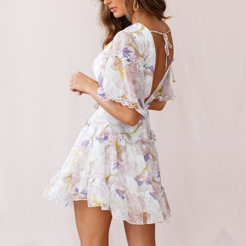 Sexy V Neck Boho Chic Flower Skater Back Open Vacation Sundress Short Dresses