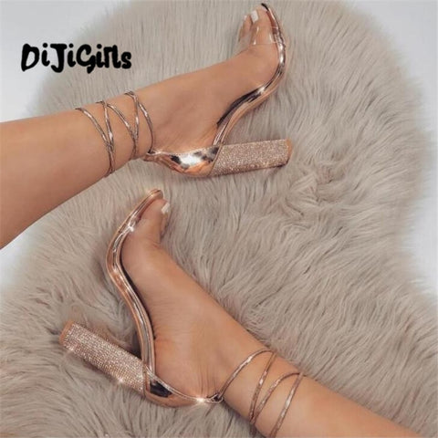 Sandals Open Toe High Heels Shoes Clear Transparent