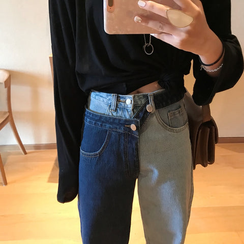 Female Denim Pants Patchwork High Waisted Jeans Feminino Skinny
