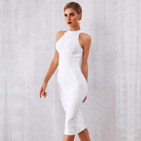 Celebrity Party Bodycon Bandage White Sleeveless Off The Shoulder Sexy Dress
