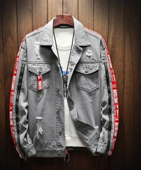 Blue Denim Slim Fit Hooded Ripped Jean Jacket