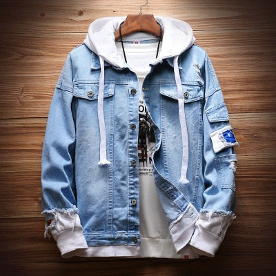 fake two pieces Stitching Pink Ripped Hooded Denim jeans Jacket