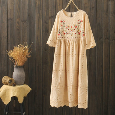 boho white embroidery ethnic bohemian half sleeve white blue embroidery dress