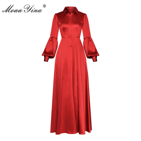 Designer Runway Turn-down Collar Lantern Sleeve Prom Party Dresses
