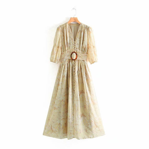Vintage Palace Style Khaki Chic Front Button Belt Maxi Dress