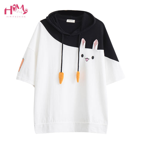 Lovely Pink Rabbit Cute Carrot Short Sleeve Anime Bunny Tee Tops T-Shirts