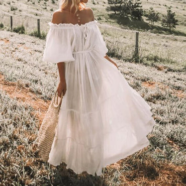 Boho White Travel Off Shoulder Pleated Lace Up Lantern Dress