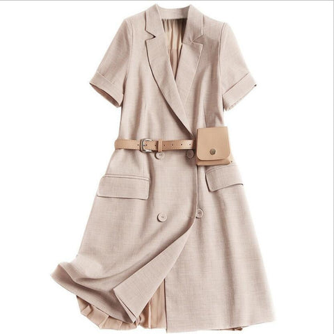 Ladies Elegant Khaki Blazer Office Short Sleeve Pleated Mini Dress