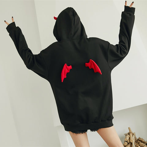 Punk Gothic Girls Devil Horn Chic Pullover Loose SweatshirtHoodie