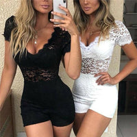 Sexy Floral Lace Playsuit Jumpsuit sexy V Neck Short Sleeve