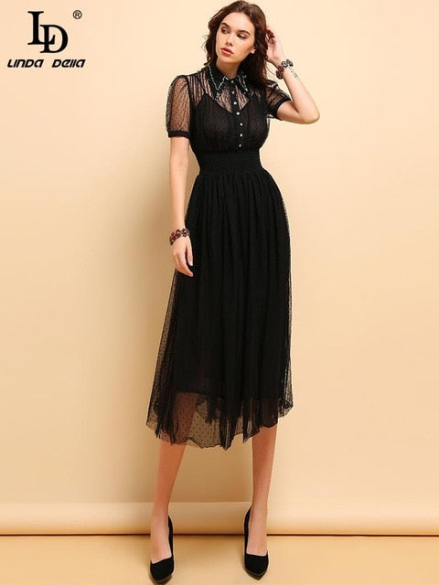 Fashion Short Sleeve Elegant Casual Holiday Black Midi Dresses